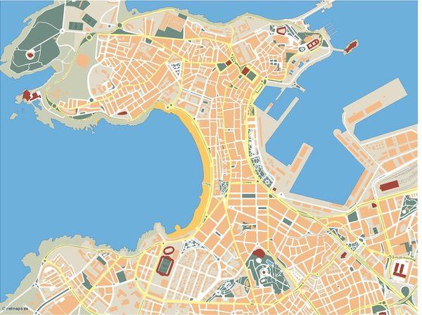A-Coruna_mapa_mudo