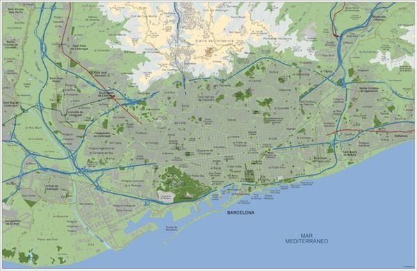 Mapa Barcelona Area vector