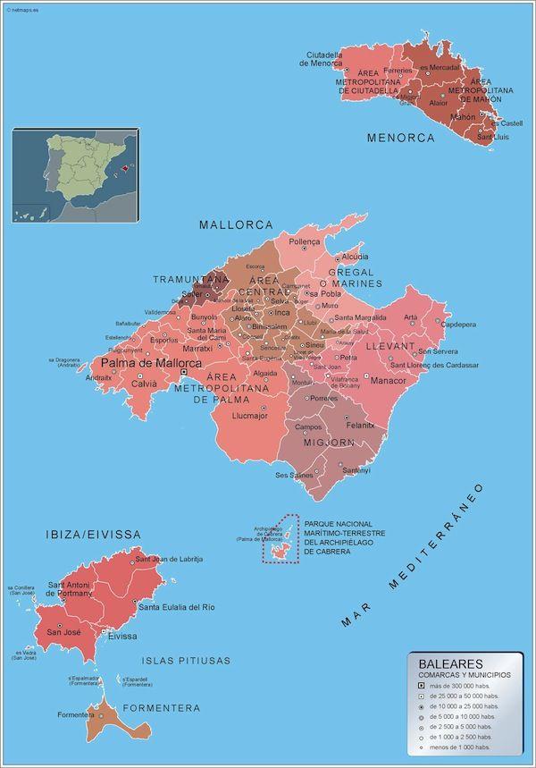 mapa municipios Islas Baleares