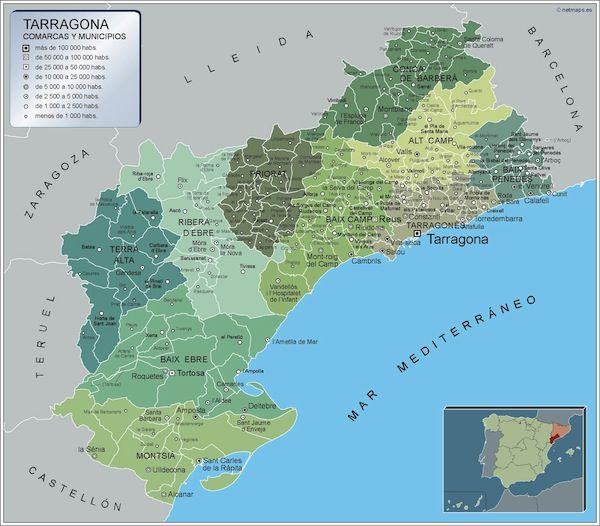 mapa municipios Tarragona
