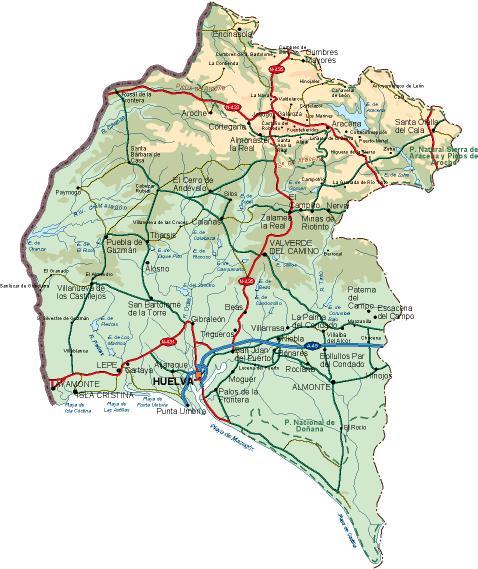 mapa provincia Huelva